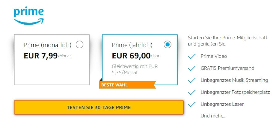 Amazon Prime kostenlos testen