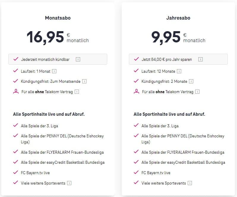 Magenta Sport Kosten für Nicht-Telekom Kunden