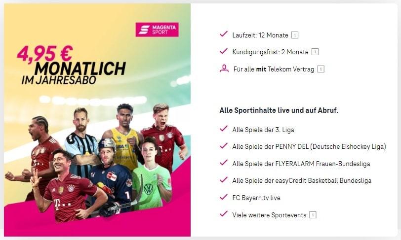 Magenta Sport für Telekom Kunden